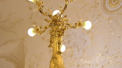 Golden chandelier, Odessa Opera and Ballet Theater, interior, lobby Stock Footage