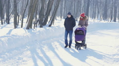 Happy young family walking in the park in winter Stock Footage