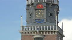 Tilt up of the Waag's tower from The Netherlands at the Mini-Europe, Brussels Stock Footage