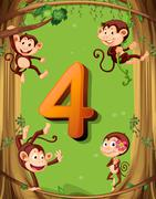 Number four with 4 monkeys on the tree Stock Illustration