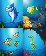 Sea animals swimming in the ocean Piirros