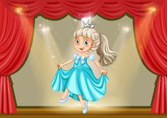 Girl in princess costume on stage Stock Illustration