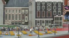 The famous cheese market (Kaasmarkt) displayed at the Mini-Europe park, Brussels - stock footage