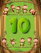 Number ten with 10 monkeys on the tree Stock Illustration
