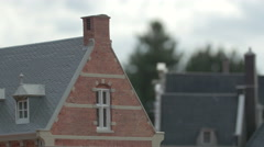 The roof and the attic of a building displayed at the Mini-Europe, Brussels Stock Footage