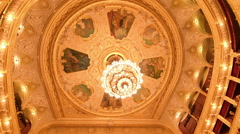 Big crystal chandelier, balconies of Odessa Opera and Ballet Theater, interior Stock Footage