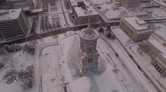 Nashville Snow- building with flags slow move Stock Footage