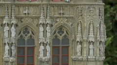 Statues on the facade of the Town Hall in Brussels at the Mini-Europe, Brussels Stock Footage