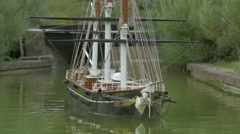 A sailing ship displayed at the Mini-Europe, Brussels Stock Footage
