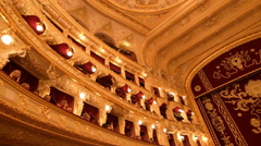 Balconies of Odessa Opera and Ballet Theater, interior Stock Footage