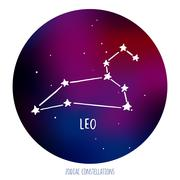 Leo vector sign. Zodiacal constellation made of stars on space background Stock Illustration