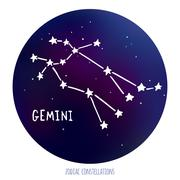 Gemini vector sign. Zodiacal constellation made of stars on space background - stock illustration