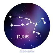 Taurus vector sign. Zodiacal constellation made of stars on space background Stock Illustration