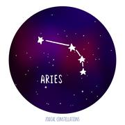 Stock Illustration of Aries vector sign. Zodiacal constellation made of stars on space background