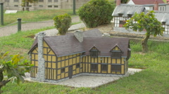 The Shakespeare house from Stratford upon Avon at the Mini-Europe, Brussels - stock footage