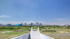Panorama of the Astana city timelapse and the president's residence Akorda with Stock Footage