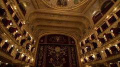 Interior of audience hall of Odessa Opera and Ballet Theater Stock Footage