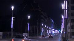 Night traffic on Rue de la Loi in Brussels Stock Footage