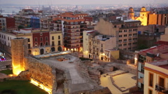 View of  old Tarragona in twilight time. Stock Footage