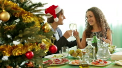 Christmas dinner at home young family - stock footage