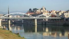 Pont de  Estat over Ebro river Stock Footage