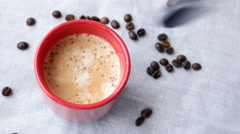 Cup of hot espresso Stock Footage