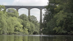 Stock Video Footage of World Famous Pontcysyllte Aqueduct on the Llangollen Canal