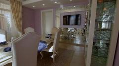 Luxury Apartment Modern interior dining room. - stock footage