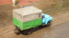 Aerial view of old, vintage truck driving on downtown of Odessa city, Ukraine Stock Footage