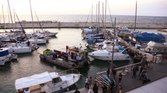 Divers on boat making dangerous parking in port Jaffa 02. Editorial Stock Footage