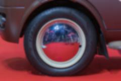Blurred of Zoom classic car wheel in Car show event - stock photo