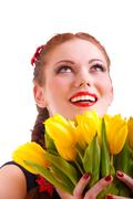 Girl with yellow florets Stock Photos
