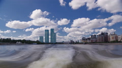 Astana, Kazakhstan. View from Pleasure boat on the river Ishim timelapse Stock Footage