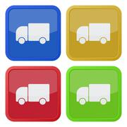 set of four square icons with lorry car - stock illustration