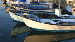 Fishers Boats Anchored at Jaffa port - stock footage
