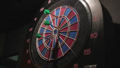 Playing Darts in the Bar Close-Up - stock footage