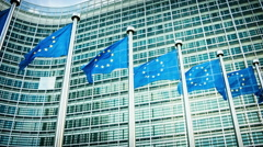 European Union flags, Brussels, Belgium. Slider shot - stock footage