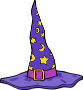 Cartoon wizard hat - stock illustration