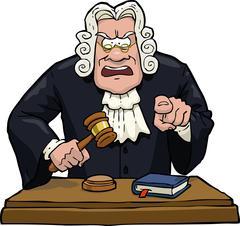 Cartoon judge accuses Stock Illustration