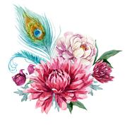 Stock Illustration of Watercolor floral composition