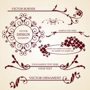 Set of decorative borders and frames Stock Illustration