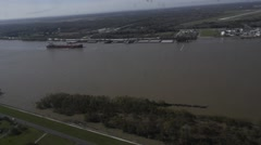 BELLE CHASSE USA, JANUAR 2016, Overflight Mississippi River, Boat - stock footage