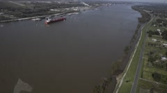 BELLE CHASSE USA, JANUAR 2016, Overflight Helicopter Cross Mississippi River Stock Footage