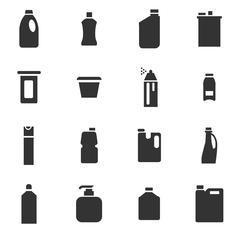 Household chemicals icons set - stock illustration