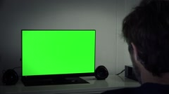 Late Night Watch Television Green Screen Stock Footage