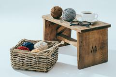 Leisure time, knitting with a cup of coffee Stock Photos