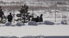 COLORADO SPRINGS USA, JANUARY 2016, US Soldiers Walk Snow Area Stock Footage