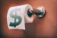 Toilet Roll Dollar Sign Stock Photos