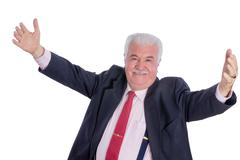 Senior happy man with wide open arms Stock Photos