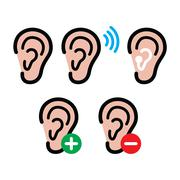Ear hearing aid, deaf person - health problem icons set Stock Illustration